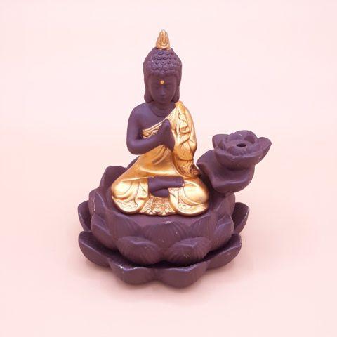 Fontaine à encens bouddha tibétain en méditation pour cônes percés