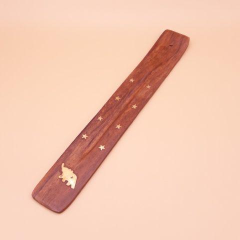 Porte encens en bois avec gouttière de récupération des cendres pour bâtonnets classiques - Eléphant de la sagesse