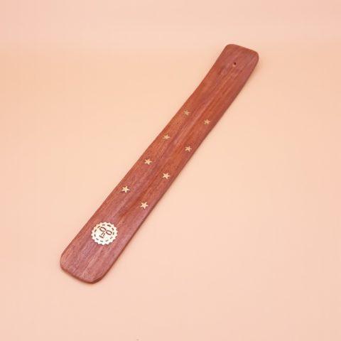 Porte encens en bois avec gouttière de récupération de cendres pour bâtonnets classiques - Avec symbole du Soleil radieux