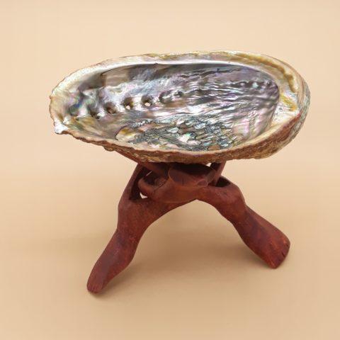 Coquille d'Abalone de purification & régénération avec pied de présentation - Petit modèle