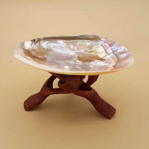 Coquille d'Abalone avec perles de nacre - Avec pied de présentation