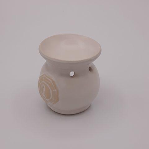 Brûleur d'huiles essentielles blanc avec symbole Yin & Yang