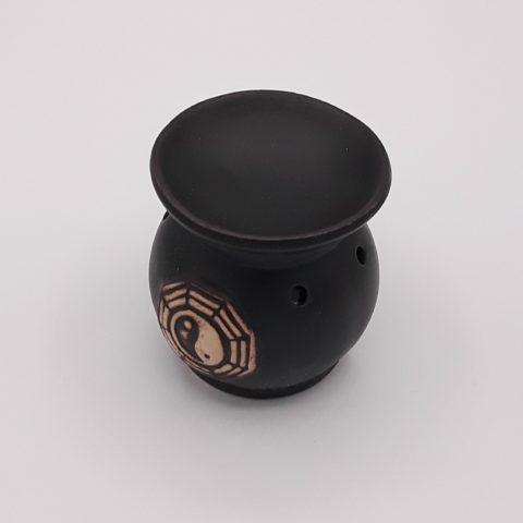Brûleur d'huiles essentielles noir avec symbole Yin & Yang