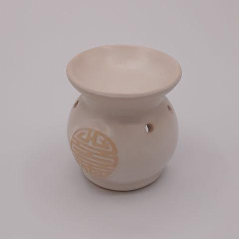 Brûleur d'huiles essentielles symbole chinois Shou - blanc