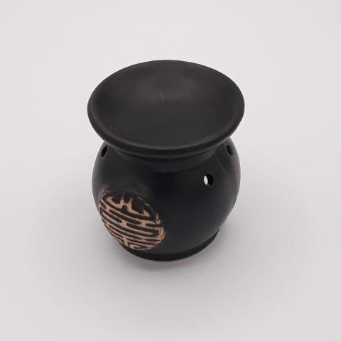 Brûleur d'huiles essentielles symbole chinois noir