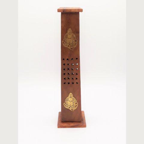 Porte encens tour en bois bouddha rieur pour bâtonnets & cônes classiques