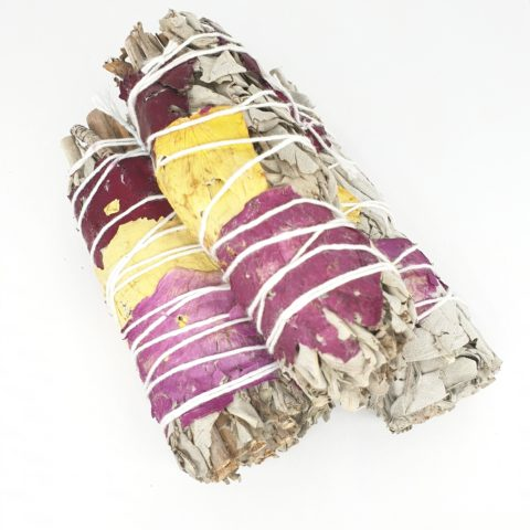Torche de sauge blanche Californienne & Pétales de rose aux 7couleurs des chakras - 12cm et 35g