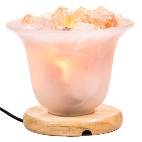 Lampe brasero avec sel de l'Himalaya en morceaux brutes