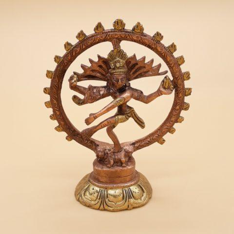 Statue en laiton bicolore Shiva Nataraj - 13cm