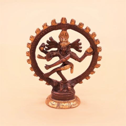 Statue en laiton bicolore Shiva Nataraj - 10cm