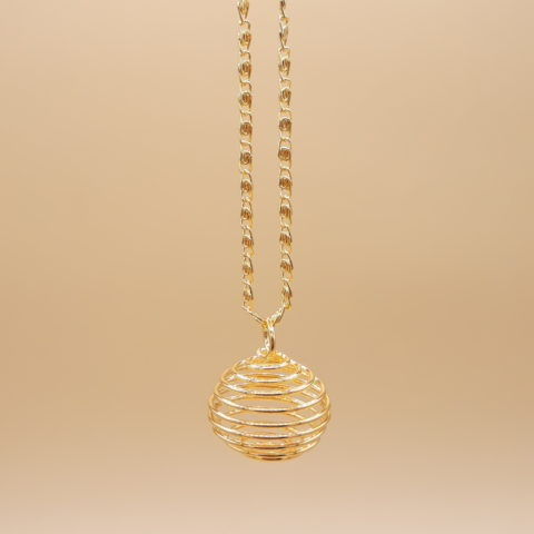 Chaîne en laiton de 40cm avec cage en spirales - Doré