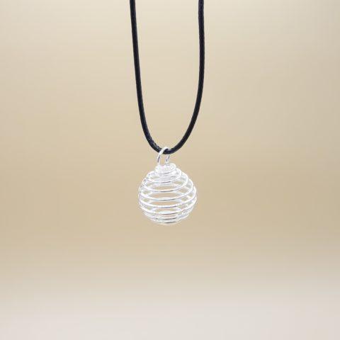 Cordon de 40cm en cuir véritable avec cage en spirale - argentée