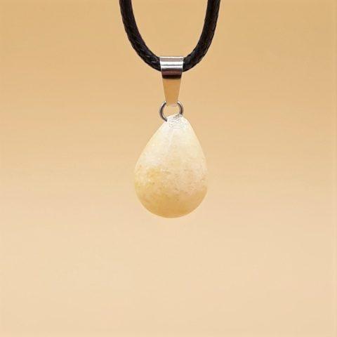 Pendentif en pierre de Calcite jaune - en forme de goutte
