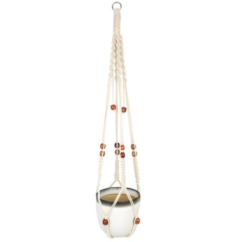 Suspension cache pot en macramé 90cm - avec perles en bois colorées