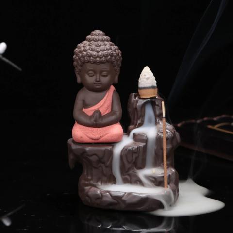 Fontaine à encens Petit moine bouddhiste toge corail - en céramique