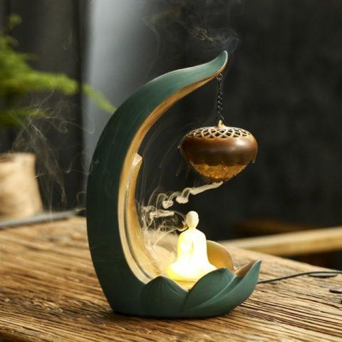 """Fontaine à encens """"Lotus & moine yogi"""" en céramique - Éclairage LED"""