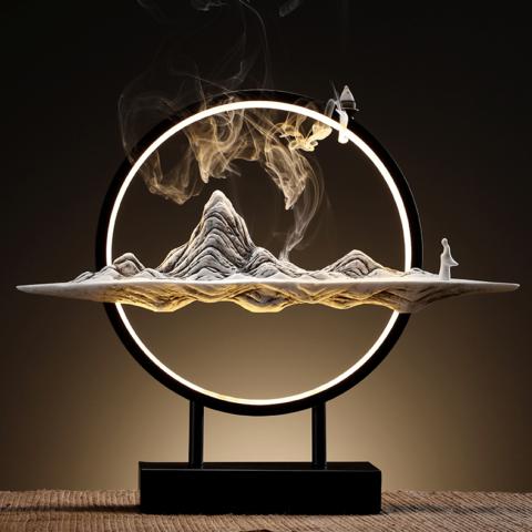 """Fontaine à encens """"Montagne paisible"""" en céramique & métal - Lampe décorative"""