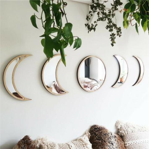 Ensemble de 5 miroirs Cycle des phases Lunaires - en bois de peuplier