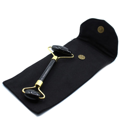 Rouleau de massage en pierre d'Obsidienne noire