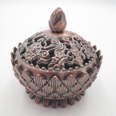 Brûleur d'encens pour résine & poudre de tradition tibétaine - En laiton cuivré