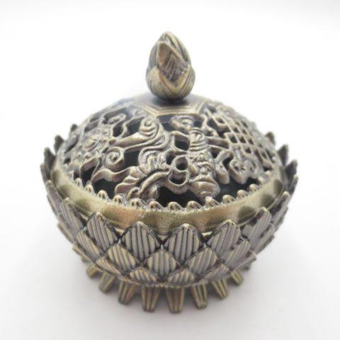 Brûleur d'encens pour résines & poudres de tradition tibétaine - En laiton doré