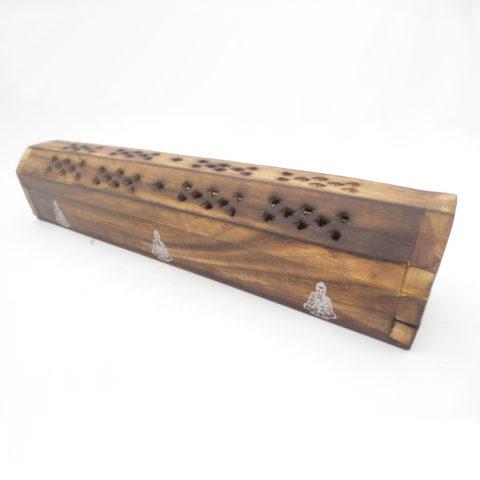Porte encens boîte en bois horizontale pour bâtonnets & cônes classiques - Bouddha tibétain