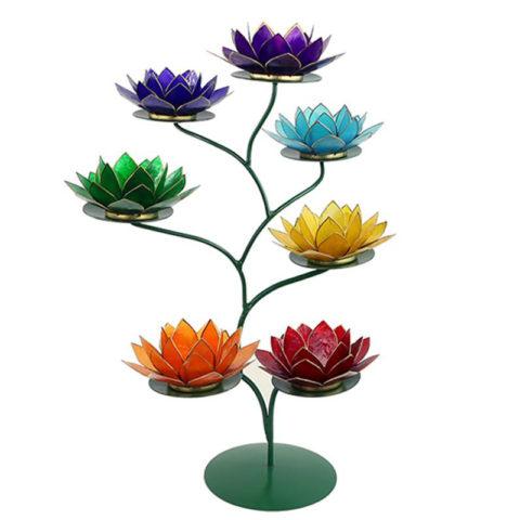"""Photophore """"Lotus chakra"""" en coquillages de Capiz [Handmade]"""