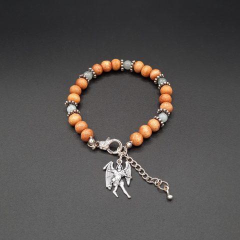 Bracelet de l'archange Michael en pierre d'Aigue marine et huile essentielle de gingembre - Perles de bois