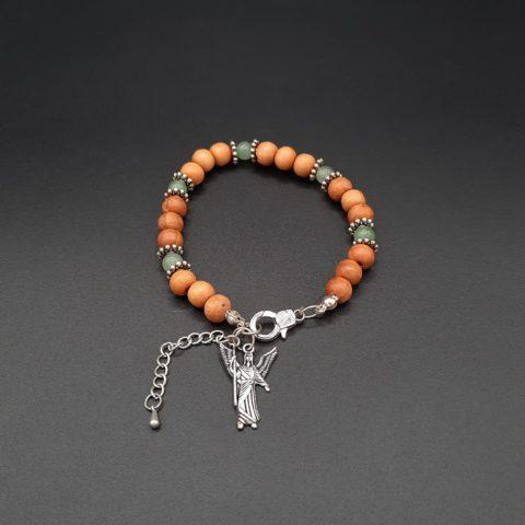 Bracelet de l'archange Raphaël en pierre d'Aventurine et huile essentielle de Lavande - Perles de bois