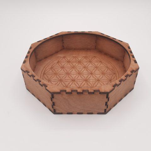 Boite octogonale en bois foncé